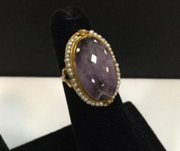 Estate Antique 14kt Gold Amethyst Seed Pearl Ring