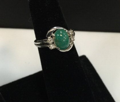 Estate 14kt White Gold Jade & Diamond Ring