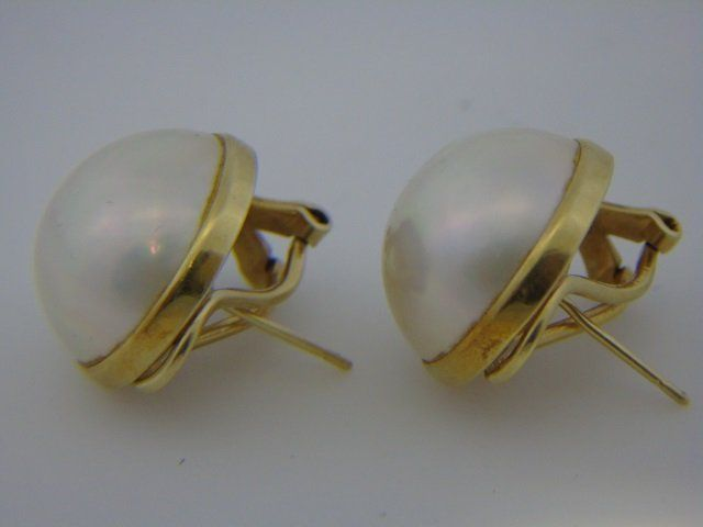 Vintage Estate Large 14k Gold Mabe Pearl Earrings