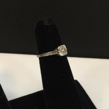 Estate Antique Platinum & Diamond Solitaire Ring