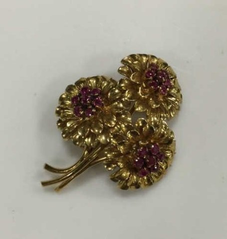 Estate Tiffany & Co 18kt Gold & Ruby Brooch