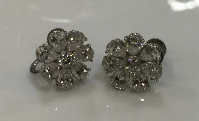 Estate Platinum & Diamond Tiffany & Co Earrings