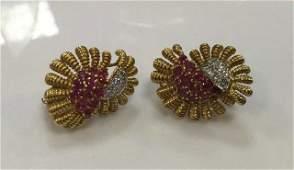 Estate Tiffany & Co Diamond & Ruby Floral Earrings