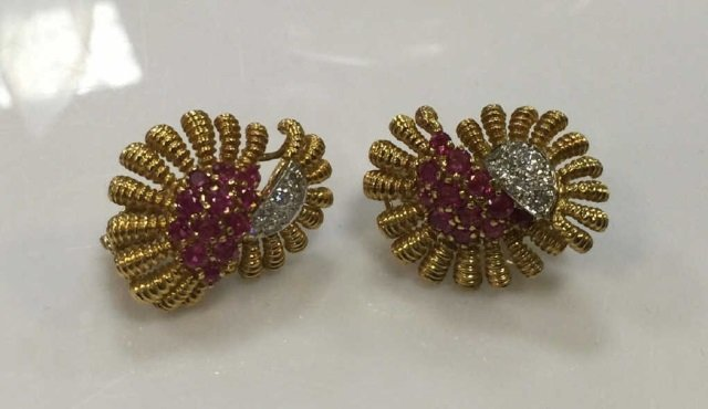 Estate Tiffany & Co Diamond & Ruby Floral Earrings