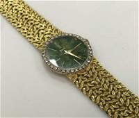 Estate Ladies 18k Gold Diamond & Jade Piaget Watch