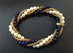 Estate 18kt Gold, Pearl & Lapis Lazuli Bracelet