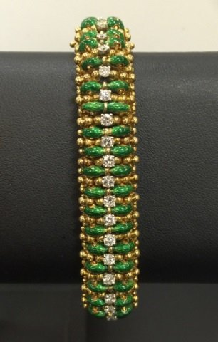 Estate Tiffany & Co 18kt Diamond & Enamel Bracelet