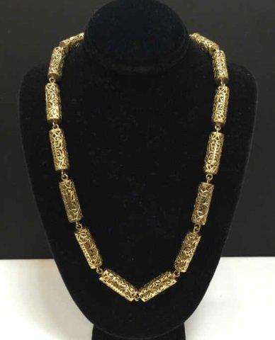 Estate 14kt Yellow Gold Filigree Barrel Necklace