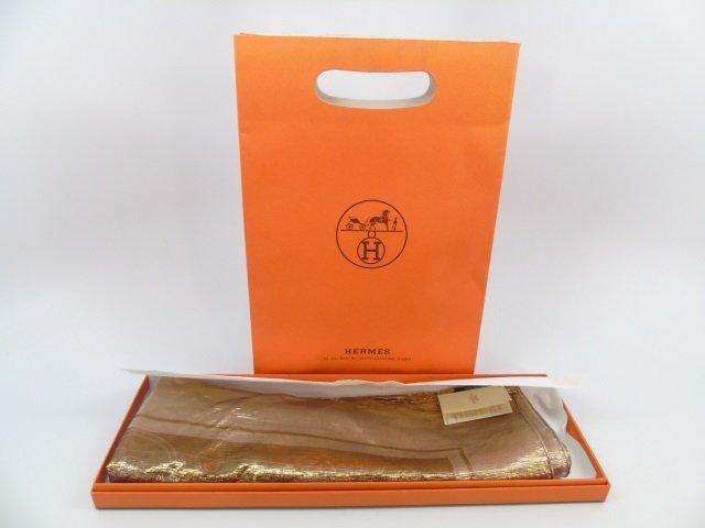 Hermes Gold Metallic Scarf w/ Box & Bag