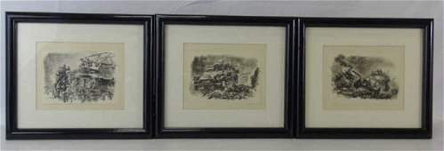 3 Signed Pencil Sketch German 1942 Military Scenes