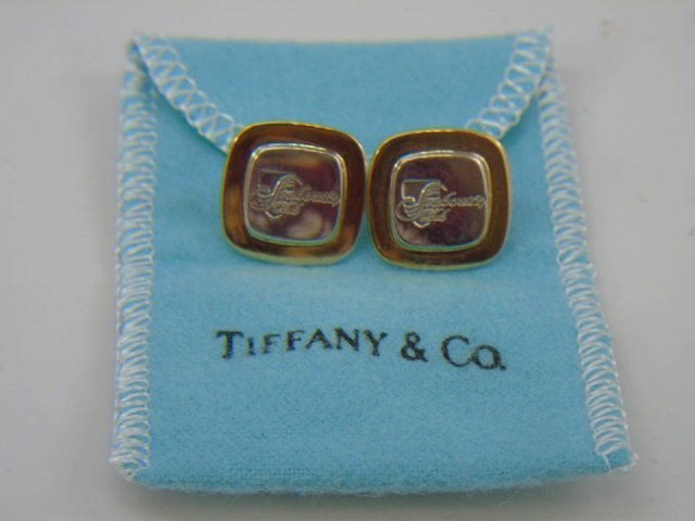 Pair Tiffany & Co 18kt Gold & Sterling Tie Tacks