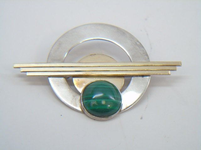 Vintage Modernist Malachite & Sterling Brooch Pin