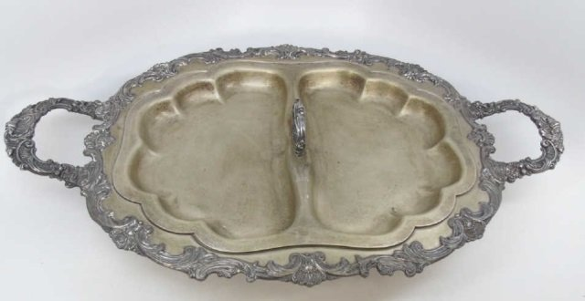 Antique Silver Over Copper Heated Serving Tray