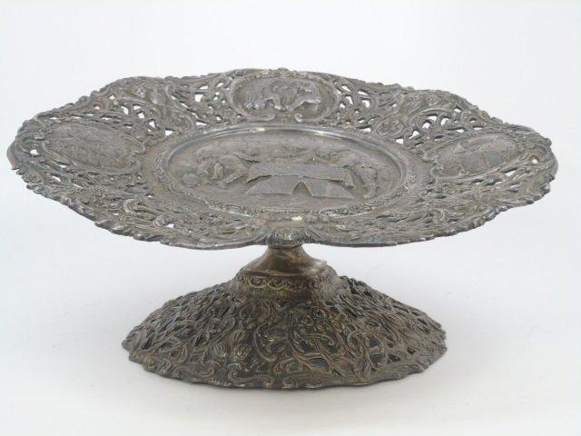 Antique Dutch Figural Silver Plate Compote