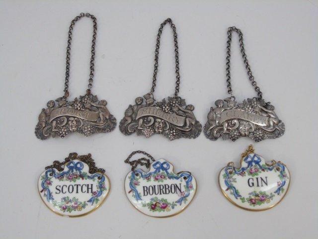 Antique English Silver & Porcelain Decanter Labels