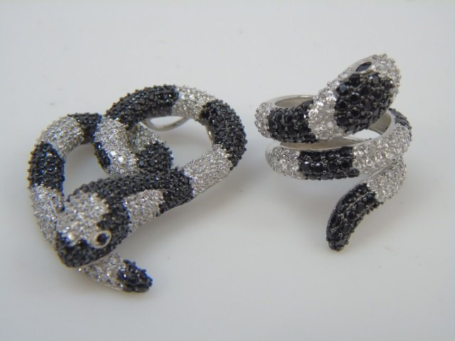 Set of Pave Snake Ring & Snake Heart Shaped Pin