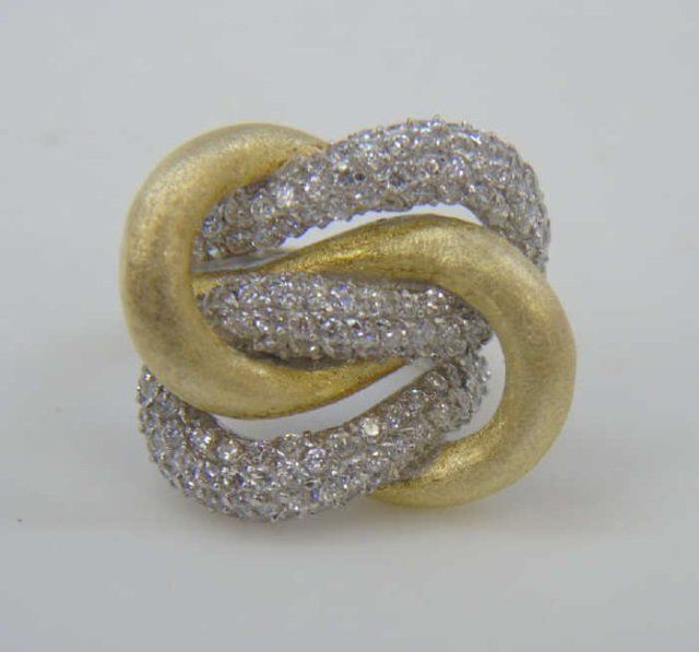 Silver & Vermeil Love Knot Matte & Pave Ring