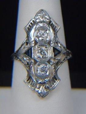 Estate Art Deco Diamond Sapphire White Gold Ring
