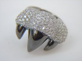 Sterling Silver Animal Claw Pave Polished Ring
