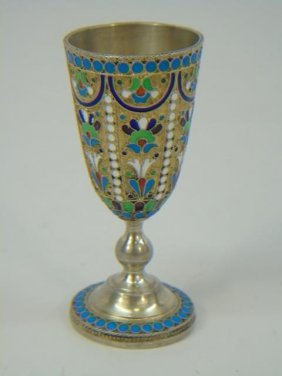 Antique Russian Imperial Silver & Enamel Vodka Cup