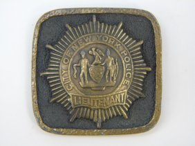 City Of New York Police Lieutenant Buckle / Badge