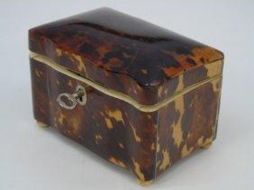 Antique 19th C English Victorian Faux Tortoise Box
