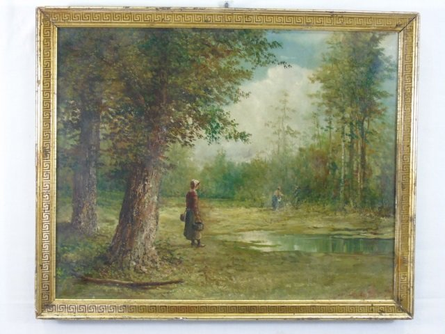 Oil on Canvas Painting Wooded Pond Style of Corot