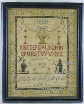 Antique Cross Stitch Sewing Sampler Dated 1928