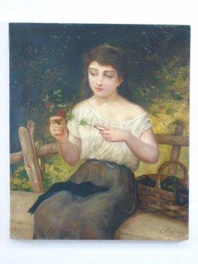 19th C Italian Oil On Canvas Painting Peasant Girl