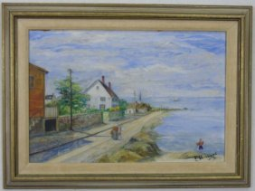 Signed Painting American Coastal Landscape Hubbard
