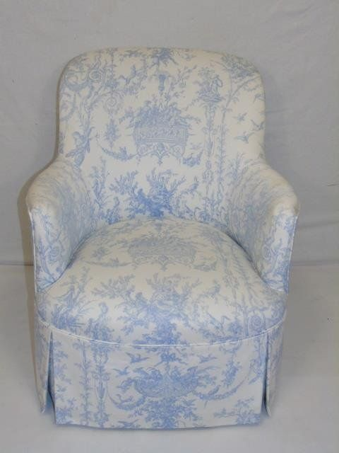 Contemporary Traditional Toile Fabric Armchair