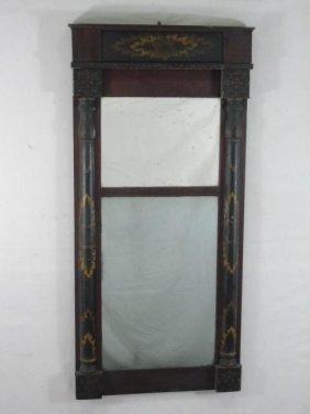 Antique American Empire Stencil Painted Mirror