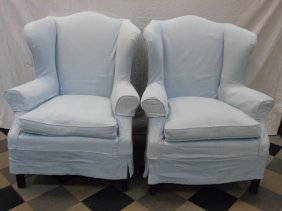 Pair Contemporary Traditional Wing Back Armchairs