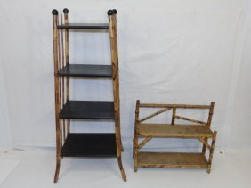 Two Antique Faux Tortoise Painted Bamboo Shelves