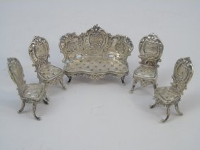 Antique Dollhouse Miniature Size Silver Furniture