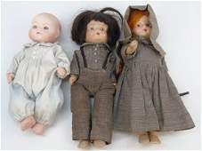 Three Antique Dolls - Bye Lo Baby & Compo Couple