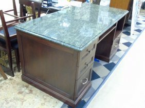 Contemporary Modern Custom Granite Top Desk