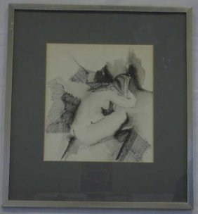 Original Ink On Paper Board Portrait Of A Nude