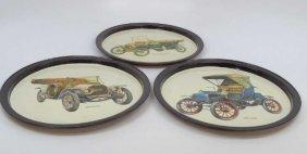 Three Vintage Metal Trays W/ Antique Car Images