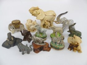 Collection Of Small Elephant Statues & Boxes