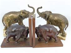 Two Pairs of Elephant Figure Bookends