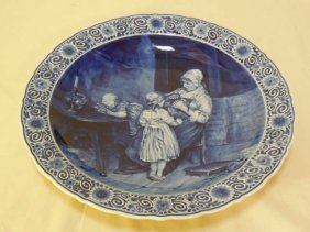 Continental Porcelain Blue & White Painted Platter