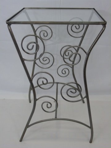"""Contemporary """"Scroll"""" Iron End Table Glass Top"""