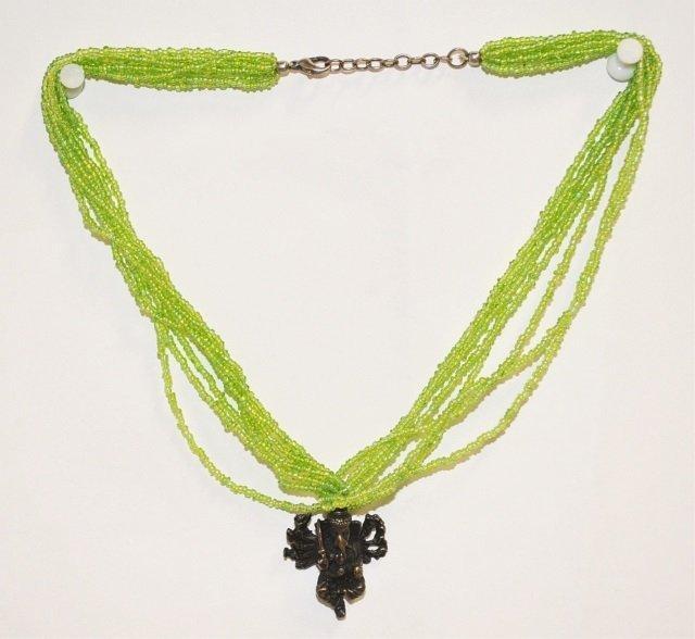 Ganesh & Glass Bead Pendant