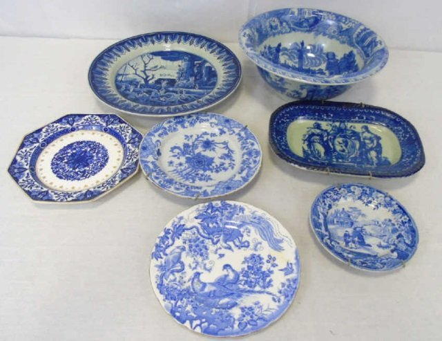 Lot of 7 Antique Flow Blue China Plates Platter