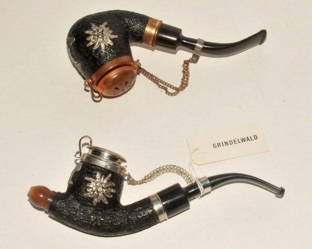 Two Swiss Burl & Metal Mounted Pipes