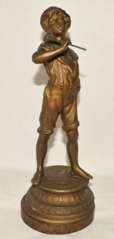 Antique Bronze Little Boy Blue w Horn