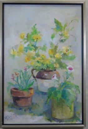 Mayer Vintage Acrylic On Canvas Floral Still Life