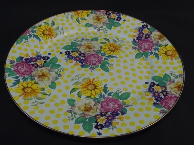 MacKenzie Childs Floral Metal Tray w/ Painted Dots
