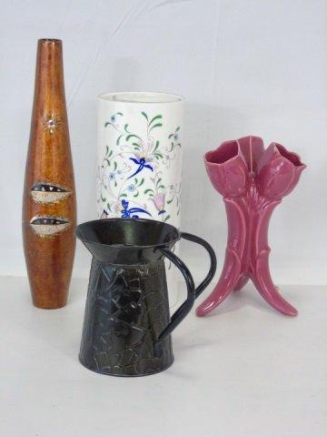 3 Vintage Vases Tin Pitcher